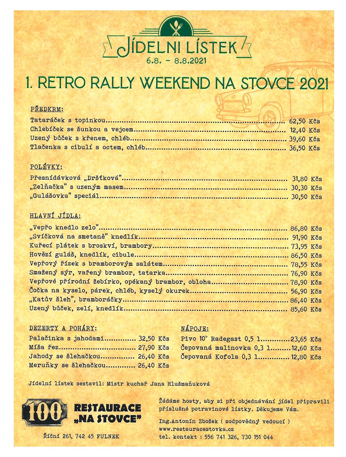 Trabant Retro rally 2021_jidelnicek